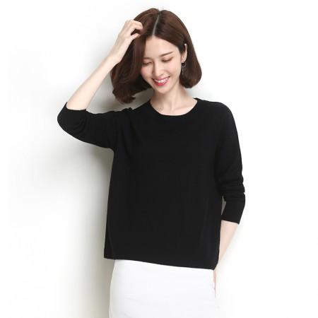 墨枝 圆领套头短款针织衫打底百搭羊毛衫(两色可选,M90079028)·黑色