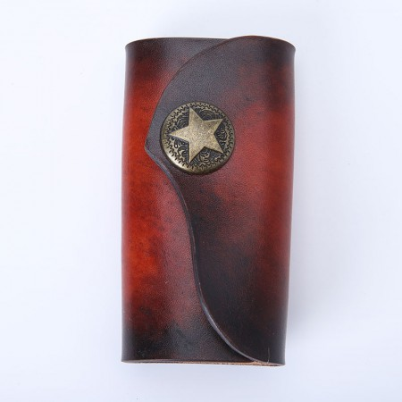 阿根廷特级植鞣皮复古纯手工钥匙包(25个工时)孤品·黑红渐变色