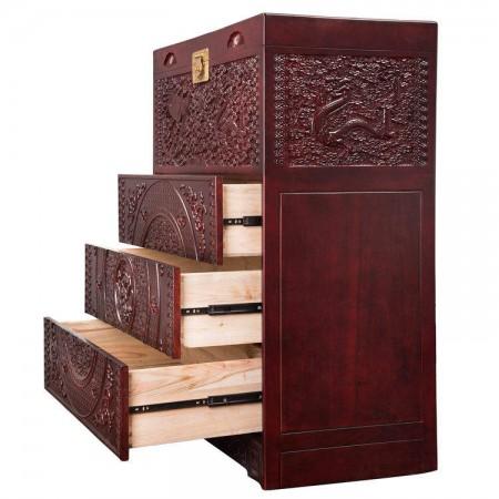 龙凤呈祥满雕樟木顶箱柜