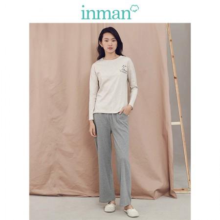 茵曼 女秋纯棉长袖两件套全棉家居服套装 9884483091·米黄色