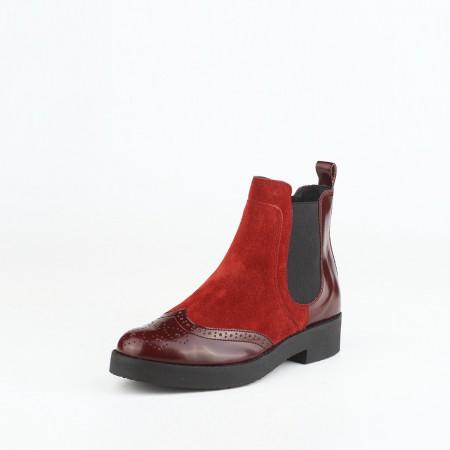 bagatt意大利进口牛皮革女短靴12EI49Q4517·酒红色