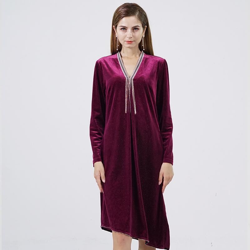 Prolivon时尚设计师款鎏锦丝绒连衣裙·酒红