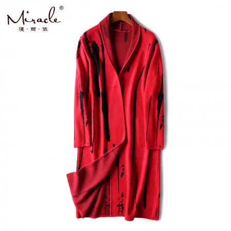 漫丽依2018秋冬时尚潮流中长款针织衫 17211·红色