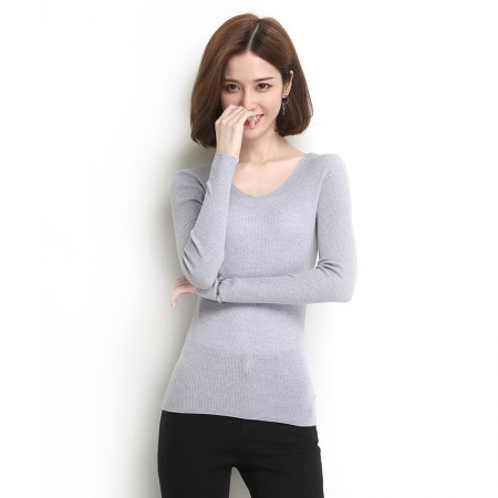 墨枝 纯色V领长袖羊毛衫(三色可选,M90073021)·浅灰色