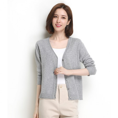 墨枝 V领开衫短款羊毛衫针织外套(M90079059)·浅灰色