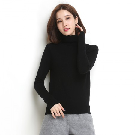 墨枝 女式高领针织套头衫纯色百搭羊毛衫(四色可选,M90079010)·黑色