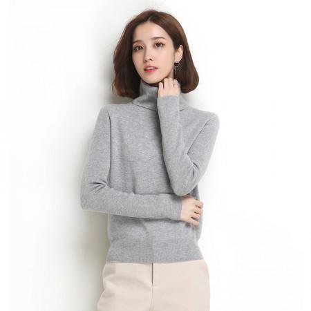 墨枝 女式高领针织套头衫纯色百搭羊毛衫(四色可选,M90079010)·浅灰