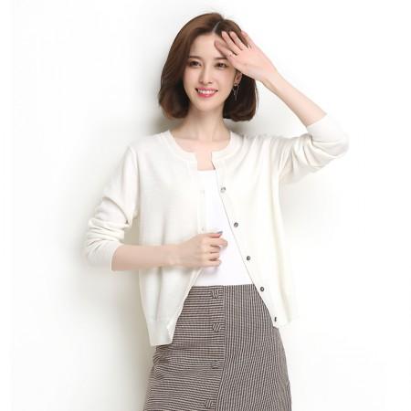 墨枝 纯色圆领开衫短款羊毛衫针织外套(三色可选,M90079038)·白色