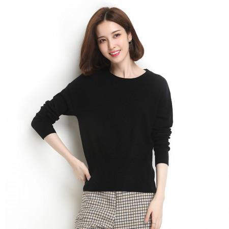墨枝 女式圆领套头百搭纯色打底羊毛衫(三色可选,M90079073)·黑色
