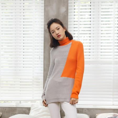 尚街 拼色高领毛衣(两色可选,HT-111103)·浅灰/橙红