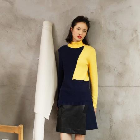 尚街 拼色高领毛衣(两色可选,HT-111103)·宝蓝/芒果黄
