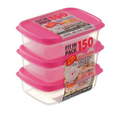日本sanada 进口饭盒微波炉专用保鲜盒套装便当盒·粉色 D014