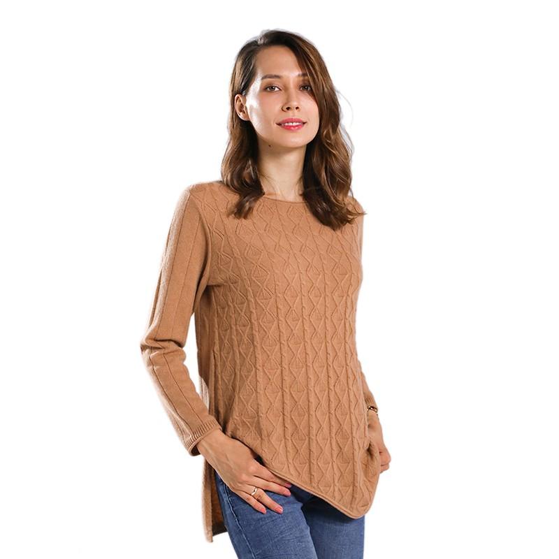 鳄鱼恤女士时尚提花纯羊绒衫·夹花红