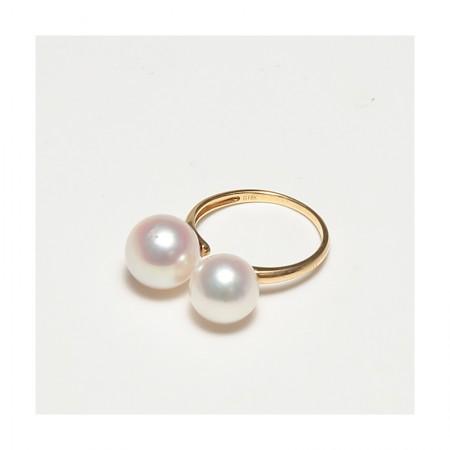 Vermeer 18K金日本AKOYA海水珍珠双珠戒指9&10mm·白色