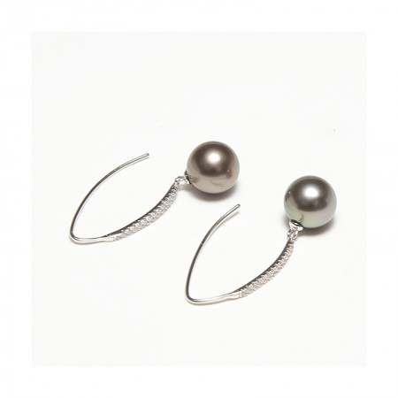 Vermeer S925银+锆石大溪地海水珍珠耳钩9-10mm·黑色