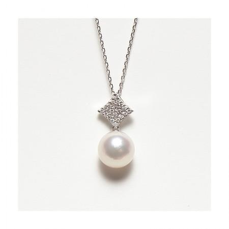 Vermeer 18K金+钻石AKOYA海水珍珠吊坠菱形10-10.5mm·白色