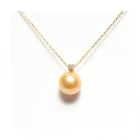 Vermeer 深金色南洋金珠18K金+钻石王妃吊坠10-11mm·深金色
