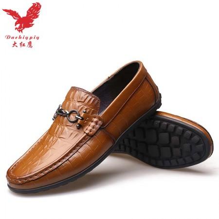 【大红鹰正品】2018新款鳄鱼纹真皮时尚豆豆鞋男士休闲鞋驾车鞋·黄色