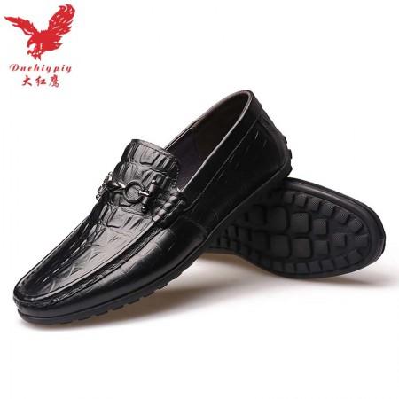 【大红鹰正品】2018新款鳄鱼纹真皮时尚豆豆鞋男士休闲鞋驾车鞋·黑色