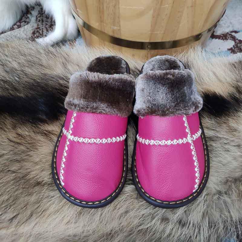 米彩微姿 十字英伦风冬季保暖牛皮拖鞋·深棕色
