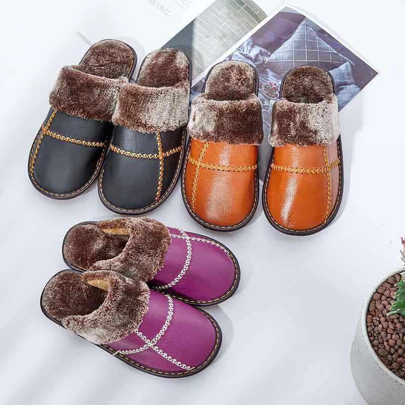 米彩微姿 十字英伦风冬季保暖牛皮拖鞋·大红色
