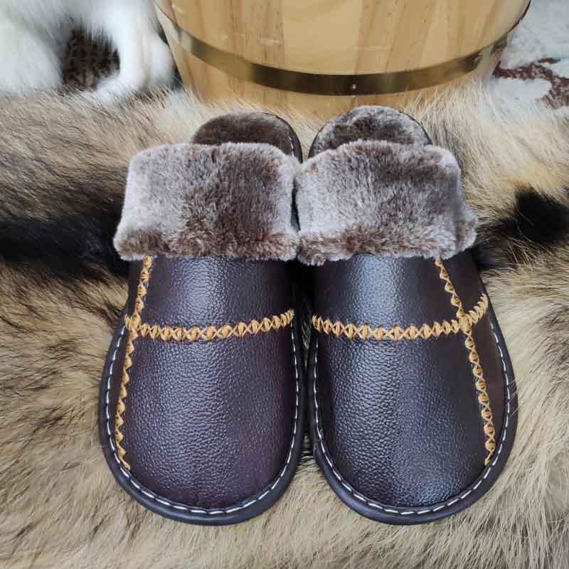 米彩微姿 十字英伦风冬季保暖牛皮拖鞋·黑色