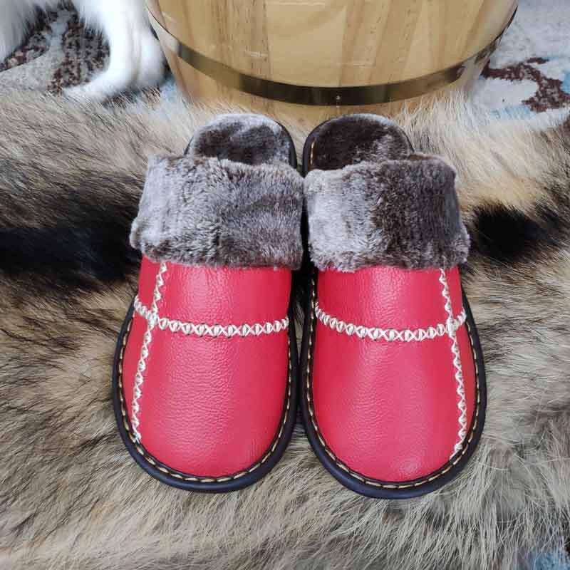 米彩微姿 十字英伦风冬季保暖牛皮拖鞋·黄棕色