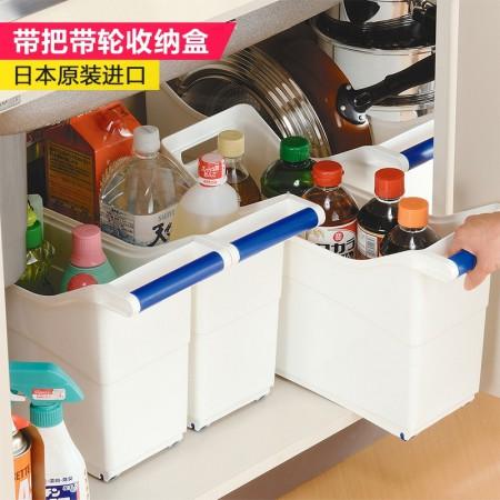 日本进口inomata带把滑轮收纳盒塑料收纳箱收纳抽屉A125·透明