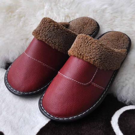 米彩微姿 英伦风冬季保暖牛皮拖鞋·酒红(女款)