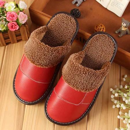 米彩微姿 英伦风冬季保暖牛皮拖鞋·大红(女款)