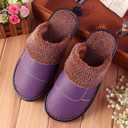 米彩微姿 英伦风冬季保暖牛皮拖鞋·紫色(女)