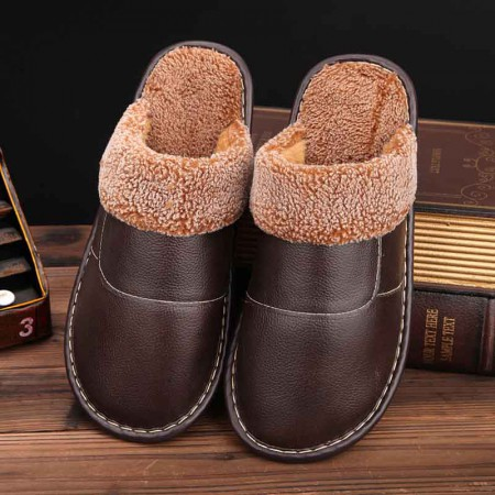 米彩微姿 英伦风冬季保暖牛皮拖鞋·棕色(男款)