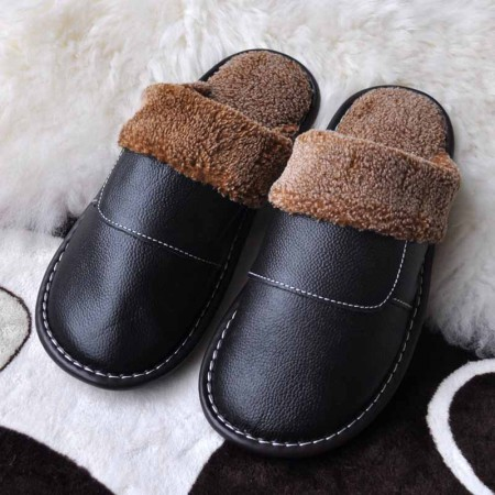 米彩微姿 英伦风冬季保暖牛皮拖鞋·黑色(男款)