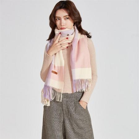 秋冬英伦经典羊毛 围巾·紫灰