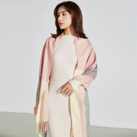 秋冬英伦经典羊毛 围巾·粉灰