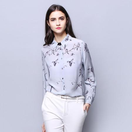 墨枝 复古真丝衬衫女长袖花色桑蚕丝上衣(S9006133)·花色