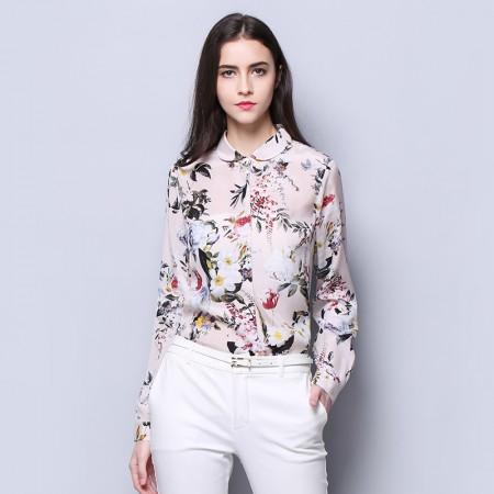 墨枝 印花时尚真丝衬衫女长袖修身上衣(S9006136)·花色