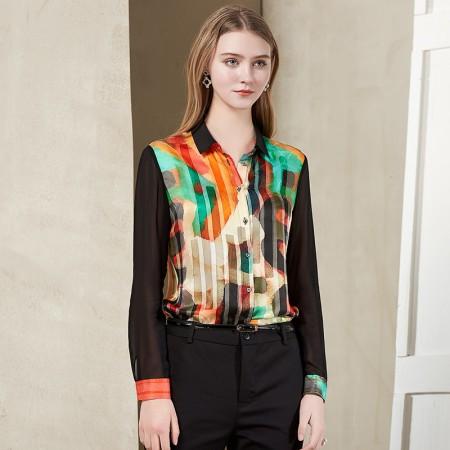 墨枝 复古印花拼接长袖真丝衬衫(S9006387)·花色