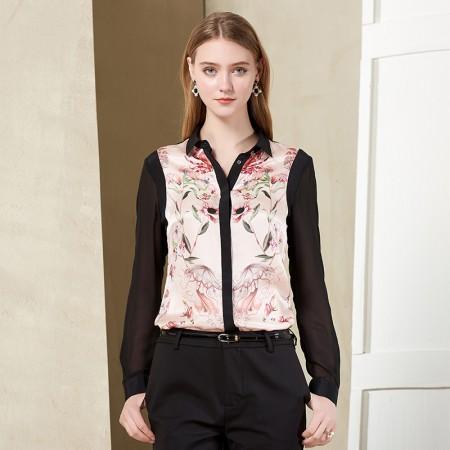 墨枝 优雅时尚复古印花拼接长袖真丝衬衫(S9006388)·粉花色