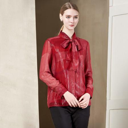 墨枝 纯色蝴蝶结宽松百搭打底衬衫(S9006544)·红色
