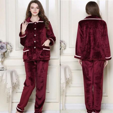 秋冬保暖时尚法兰绒家居服套装情侣款·玫紫色