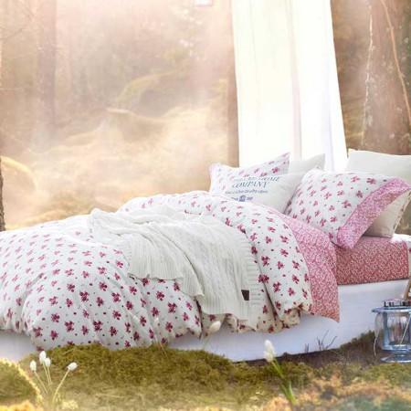 DAY&ME 北欧风40支 贡缎纹几何图案全棉活性印花四件套·沁玫瑰