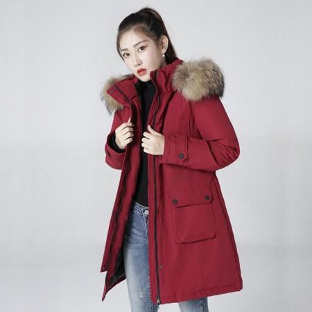 迪欧达女士加拿大鹅绒毛领防寒鹅绒服 DX8188·酒红