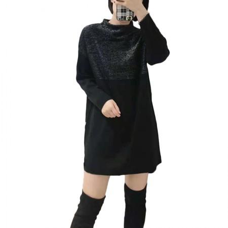 丁摩 简约气质中长款亮丝拼接羊毛套头打底裙·黑色