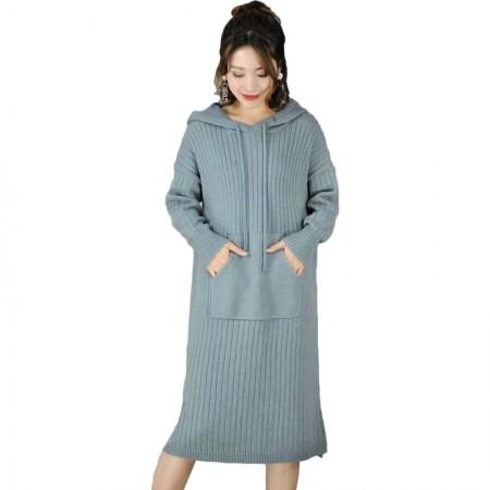 丁摩 宽松简约时尚百搭连帽中长款羊毛针织裙·蓝色