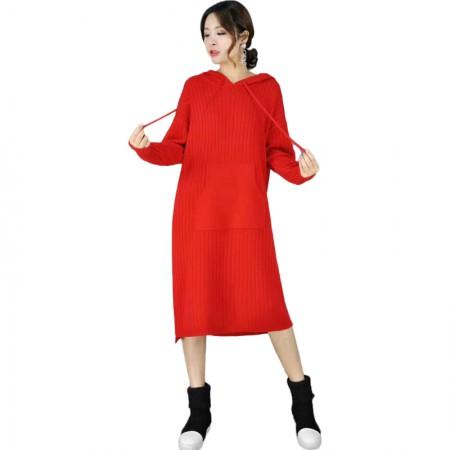 丁摩 宽松简约时尚百搭连帽中长款羊毛针织裙·红色