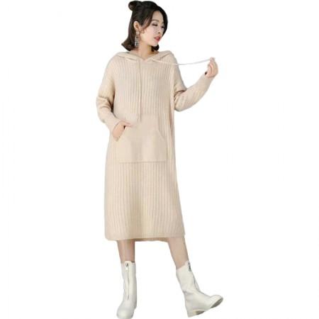 丁摩 宽松简约时尚百搭连帽中长款羊毛针织裙·浅驼色
