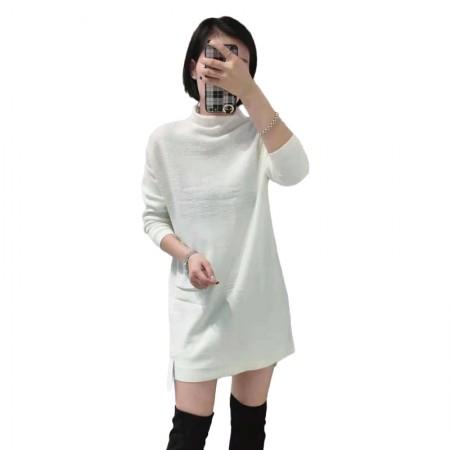 丁摩 简约气质中长款亮丝拼接羊毛套头打底裙·白色