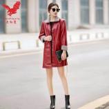 大红鹰男女款PU皮衣·红色(女)