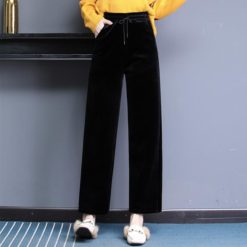 婴儿绒 加绒加厚休闲显瘦舒适直筒裤·黑色